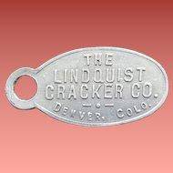 Metal Advertising Premium Lindquist Cracker Company Give Away