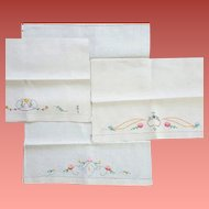 Three Exquisitely Embroidered Linen Tea Towels 1920s