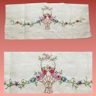 Antique White Linen Tea Towel Basket of Flowers Embroidery