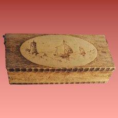 Antique Wood Pyrography Holland Trinket Box Ships Lighthouse Dutch Windmill