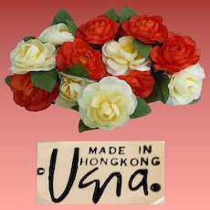 12 Vera Neumann Napkin Rings Silk Camellia Flowers Vintage 1970s MIB
