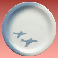 Rare Wallace China Shadow Plate Military Jet Airplanes Restaurant Ware
