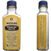 Vintage Drugstore 1930s Large Glass Medicine Bottle Watkins Sparkling Salts Intact Label