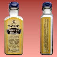 Vintage Drugstore 1930s Large Glass Medicine Bottle Watkins Sparkling Salts Intact Label