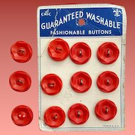 12 Matching Red Buttons Vintage 1930s - 1940s Early Le Chic Sewing Notions