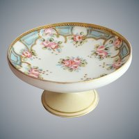 Pre 1920s Porcelain Compote Pink Roses Gold Moriage