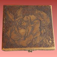 Antique Pyrograph Jewelry Box Roses Silk Lined Flemish Art