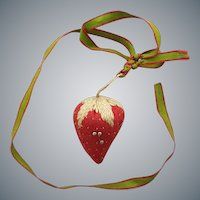Antique Strawberry Pin Cushion 1860-1880 Silk Ribbon