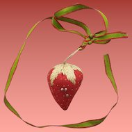 Antique Strawberry Pin Cushion 1860-1880 with Silk Ribbon