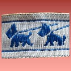 Sewing Trim Blue Scottish Terrier Ribbon 2 Yards