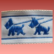 Vintage Sewing Trim Blue Scottish Terrier Ribbon Mint 4 Full yards