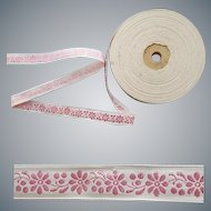 4 yard Length Pink Floral Woven Ribbon Trim Doll or Children's Clothing