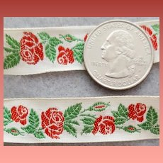 Vintage Woven Ribbon Red Roses Doll Appropriate