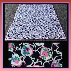 Small Vintage Quilt 1930s Floral Top Newer Backing never used
