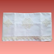 Vintage White Pillowcase with Hand Tatted Lace Mint Condition