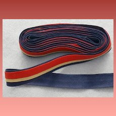 Vintage 1930s - 1940s Cotton Trim Red Ecru Blue WW II  Era Tape Trim