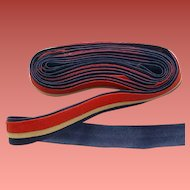 Vintage 1930s - 1940s Cotton Trim Red Ecru Blue WW II  Era Tape Trim