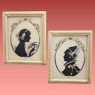 Pair of Art Deco Lady Silhouettes Back and Gold on Glass Wood Frames circa 1925