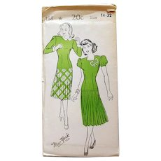 1940s Swing Dress Sewing Pattern Uncut Bust 32 Size Small