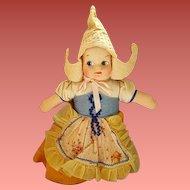 Vintage Cloth Face Dutch Girl Doll Original Clothes 1940s