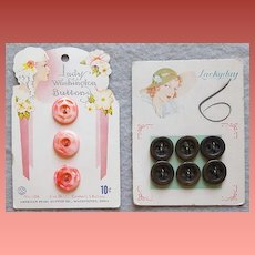 Sets of 1930s Buttons Mint on Original Cards Pink Mother Of Pearl + Brown Black