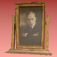 1920s Carved Wood Swivel Stand Alone Picture Frame Charming Photograph