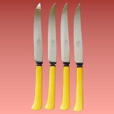 4 Vintage Bakelite Handled Steak Knives Sharp Stainless Blades