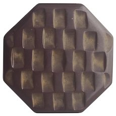 Large Bakelite Button Basket Weave Carving Cocoa Brown