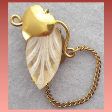 Snapette Button Closure Reverse Carved Lucite Leaf HTF 1930s - 1940s