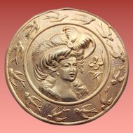 Large Metal Repousse Button Woman in Hat and Swallows Sewing Notion