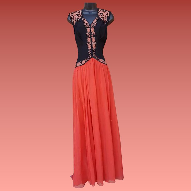 1930s Evening Gown Rayon Crepe with Soutache Chiffon Skirt Md - Lg ...