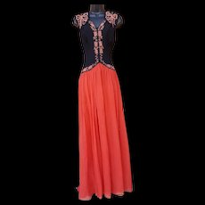 1930s Evening Gown Rayon Crepe with Soutache Chiffon Skirt Md - Lg