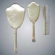 1960s Hand Mirror Brush Comb Silver Plated Vanity Set Mid Century Motif Bamboo