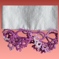 Vintage Pillow Case with Purple Lace Tatting Tube Cotton Tubing