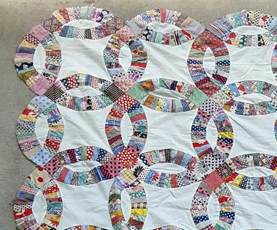 Vintage Quilt Top Wedding Ring Pattern 1920s 1930s