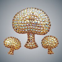 Big Rhinestone Mushroom Brooch with Earrings Mint
