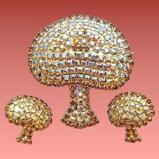 Big Rhinestone Mushroom Brooch with Earrings Mint