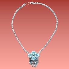 Vintage Rhinestone Necklace with Fringe 1960s