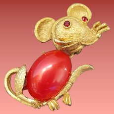 1960s Mouse Brooch Critter Pin for Halloween