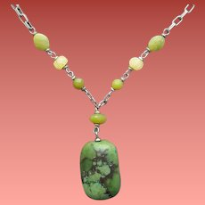 Turquoise Agate Necklace Superb Sterling Chain