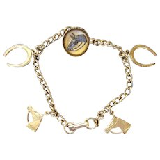 1960s Charm Bracelet Horse Themed Essex Button