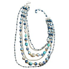 1960s Necklace 6 Strand Bead and Chain