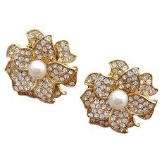 Rhinestone and Faux Pearl Earrings Pierced Flowers