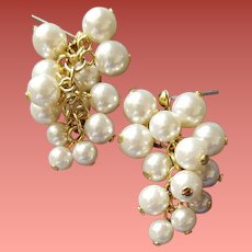 Cascading Faux Pearl Earrings Pierced Perfect White Beads