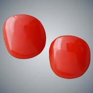 Red Bakelite Clip On Earrings Really Red