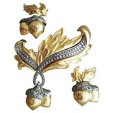 Elegant Autumn Acorn Brooch with Earrings