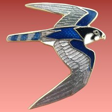 Enamel Guilloche Falcon Brooch Wm. Spear 1989
