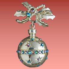 Vintage Christmas Brooch Rhinestone Shiny Ornament