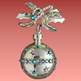 Vintage Christmas Brooch Shiny Rhinestone Ornament