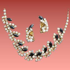 1960s Rhinestone Necklace with Earrings Gorgeous Demi-Parure